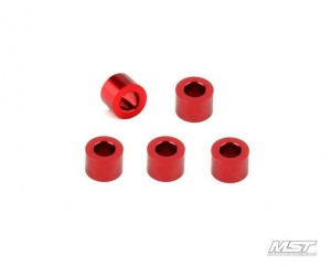 820011 Alum. spacer 3X5.5X4.0 (5) Colore: Red